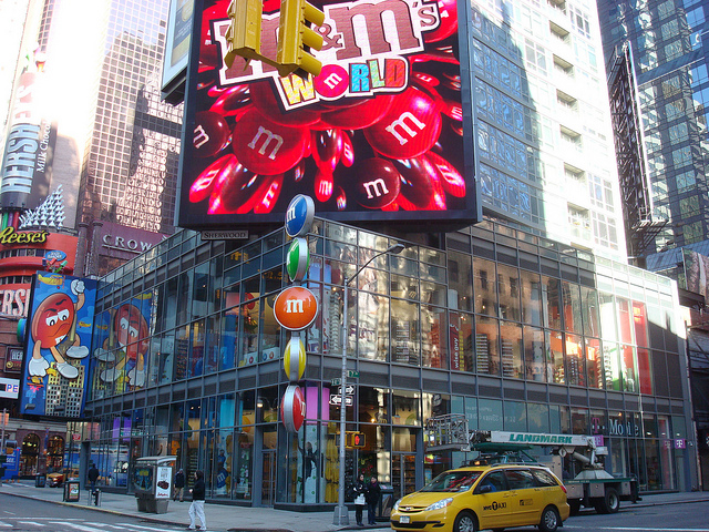 M&M's World is a retail store that specialises in M&M's candy and merchandise. The first location was on the Las Vegas Strip; stores also opened in Orlando, Florida (), New York City () and London (). The Shanghai location opened in August